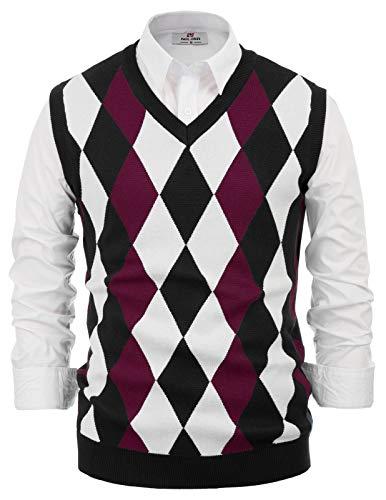 PJ PAUL JONES Mens Soft Argyle V-Neck Sleeveless Pullover Sweater Vest Burgundy 2XL