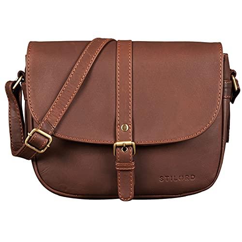 STILORD 'Leni' Damen Umhängetasche Leder kleine Handtasche Frauen Vintage zum Ausgehen Partytasche klassisch Abendtasche Freizeittasche Echtleder, Farbe:Havanna - braun