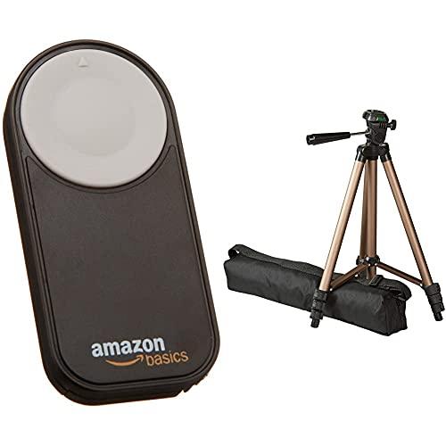 Amazon Basics – Trípode Ligero para cámara con Funda, de 41,91 a 127cm + Disparador inalámbrico para Canon EOS 650D / 600D / 550D/ 500D / 400D / 350D / 5D Mark II / 7D,...