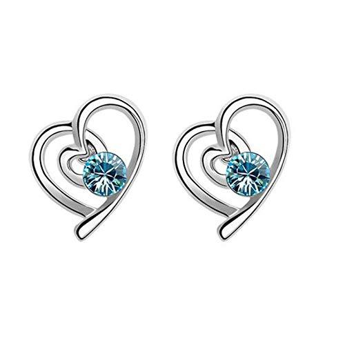 Da.Wa Collar de Tres Piezas de Cristal Azul Marino + Pendientes + Pulsera