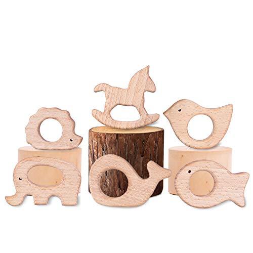 YoungRich 6 Stück Baby Holz Teether Geschenk Igel Elefant Vogel Delphin Goldfisch Pferd Handgefertigt Anhänger Kit DIY Kleinkind Beißring Hölzern Ring Zahnen Krankenpflege