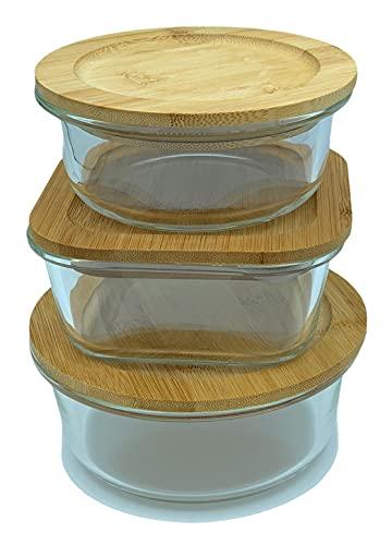 Fiambrera de cristal borosilicato con tapa de bambú hermético 3 Piezas para almacenar alimentos sin BPA