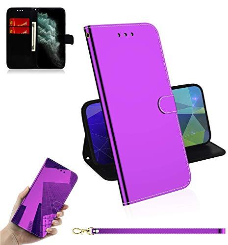 Sunrive Kompatibel mit Nokia 5.3 Hülle,Magnetisch Schaltfläche Ledertasche Spiegel Schutzhülle Etui Leder Hülle Cover Handyhülle Tasche Schalen Lederhülle MEHRWEG(Lila)
