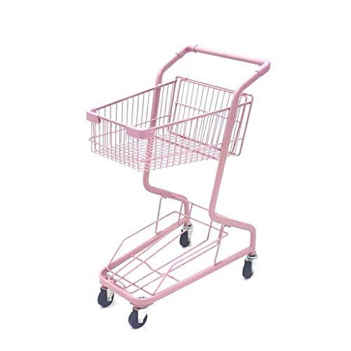RMXMY Portable Girl Herz rosa Einkaufswagen weiche Schwester Foto Requisiten Shop Zoohandlung Durable Doppel Schmiedeeisen Shopping Box Dekoration