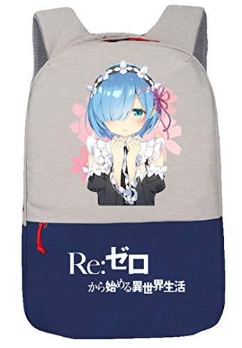 WANHONGYUE Re:Life In A Different World from Zero Anime Schultasche Laptop Backpack Rucksack mit USB-Ladeanschluss Reisetasche Blau/3
