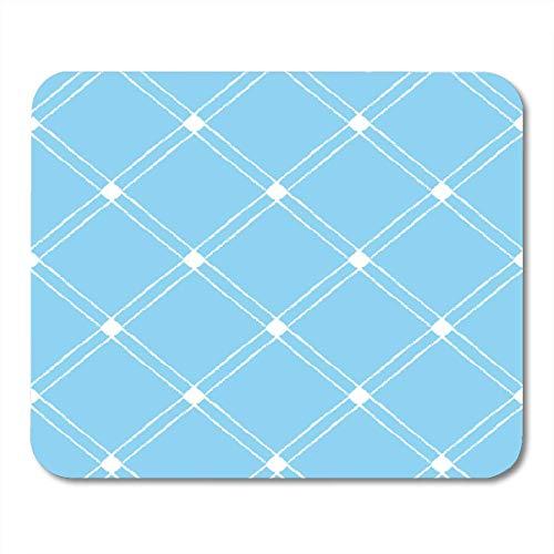 25X30cm Gaming Mauspad Mouse Mat Enclosure Crossing Diagonals Checked Plaid Brush Gezeichnete weiße Streifen auf Blue Cross Zaun