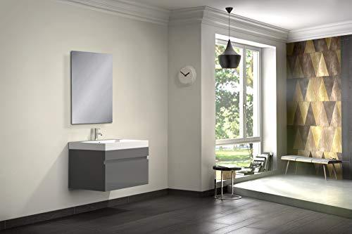 SAM® Badmöbel-Set 2-TLG, Parma, Hochglanz grau, Softclose Badezimmermöbel, Waschplatz 70 cm Mineralgussbecken, Spiegel