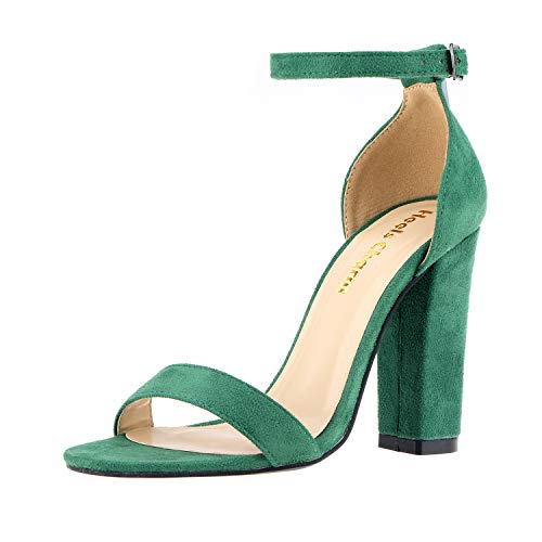 Women's Strappy Chunky High Heel Ankle Strap Sandals Open Toe Dress Sandal for Wedding Birthday Party Evening Office Shoes Green Size 6
