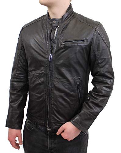Lederjacke Dave - Herren Jacke im Bikerstil aus echt Lamm Leder in schwarz (Schwarz, L)