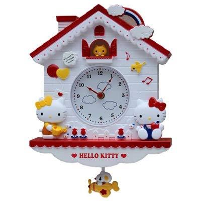Zcm Wall Clock 12 Inch Cartoon Wall Quartz Clock Home Decro for Bedroom liveroom (Color : Hello Kitty, Sheet Size : 12inch)