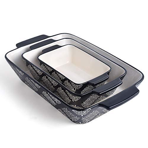KINGSBULL HOME Baking Dish Ceramic Casserole Dish Baking Set 3-pcs Bakeware Sets Lasagna Pan Baking Dishes Baking Pan