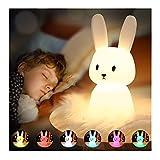 SOLIDEE Lapin Veilleuse Bebe Tactile 7 Couleurs |USB Rechargeable Peut être Chronométré Veilleuse Enfant Deco Lampe Pour Décoration Noël Chambre Enfant Cadeau D'anniversaire