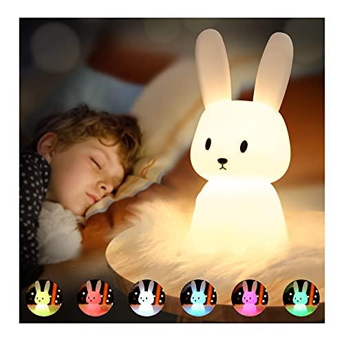 SOLIDEE Bunny Silikon Nachtlicht Kinder USB-Aufladung Nachttischlampe mit 7 Lichtwechsel & Tap Control & Timing Funktion 1200mAh Kinderzimmer Deko Geschenke Spielzeug Schlaflichter Nachtlicht Baby