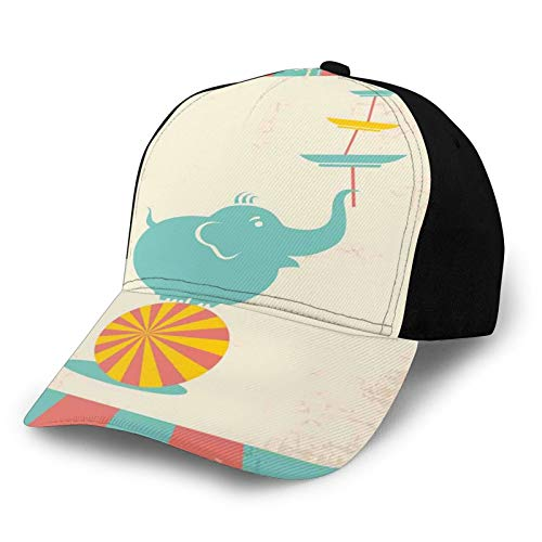 Fashion Casual Printed Baseball Cap,Grungy Background with Rays of Beams and Elephant Holding Plates Standing in Balance Outdoor Trucker Baseball Cap