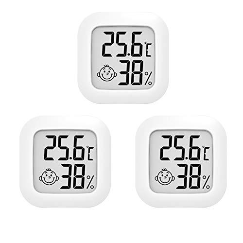 3 Stück Mini Digitales Thermometer Hygrometer Innen Thermo-Hygrometer Luftfeuchtigkeit Meter Raumthermometer für Babyzimmer Wohnzimmer Büro Kühlschrank