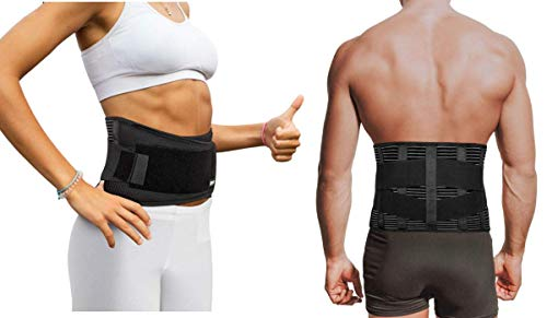 "Copper Compression Slim Back Brace with Extra Support Bars. Guaranteed Highest Copper Infused Braces for Lower Back Pain Relief. Fit for Men and Women. Lumbar Waist Support Belt Wrap Waist 28"" - 39"""