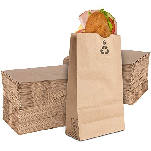 Stock Your Home 6 Lb Kraft Brown Paper Bags (200 Count) - Small Kraft Brown Lunch Bags for Packing Lunch and Snacks - Blank Lunch Sacks Brown Paper Bags for Arts & Crafts Projects