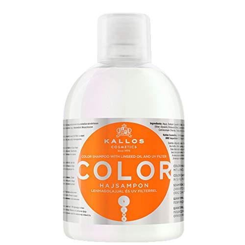 Kallos Color Shampoo mit Leinenöl und UV-Filter zum Farbschutz für gefärbtes, brüchiges Haar, 1000 ml