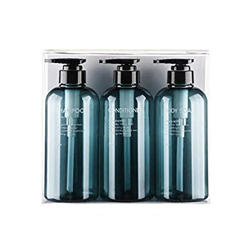 3 botellas vacías de plástico rellenables de 300/500 ml para artículos de tocador, almacenamiento de líquidos, loción, champú, lavado corporal, crema y gel de ducha, azul (Dorado) - WHXJ-LS7UOU