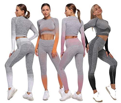 Conjunto Yoga 2 Piezas para Mujer, Conjunto Deportivo Pantalones de Yoga de Cintura Alta Súper Elásticos sin Costuras Conjunto de Ropa Deportiva de Manga Larga sin Costuras (Rosa, S)