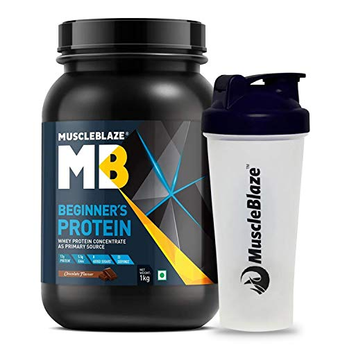 MuscleBlaze Beginner's Whey Protein Supplement (Chocolate, 1 kg with Shaker)