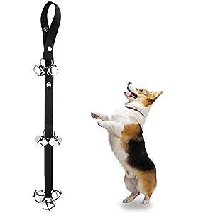 Alinana Dog Doorbells for Potty Training, Fabric Premium Quality 2.0 Adjustable Door Bell, Loud 1.5″ Round Rings Large Jingle Bells, 3 Snaps for Hanging on Door Knob