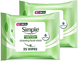 Simple Cleansing Facial Wipes, 25 pcs (Twin Pack)