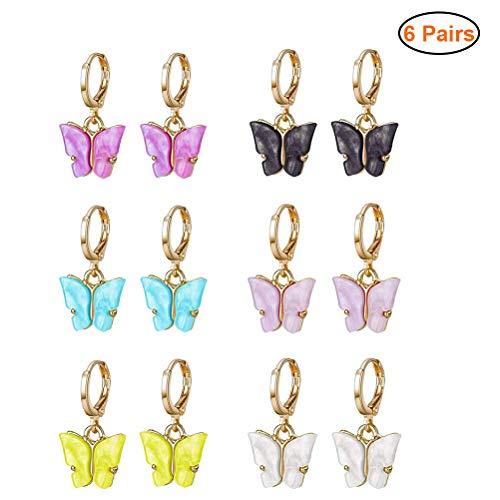 Smosyo Juego de Abalorios de Mariposa acrílicos 6 Pares de Pendientes de Mariposa Pendientes de aro Pendientes de Mariposa Coloridos Pendientes Colgantes Pendientes de Mujer