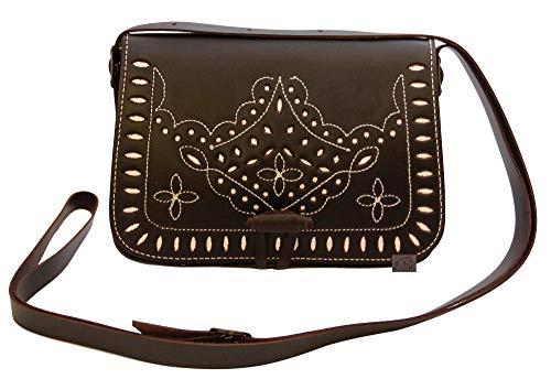 Bolso rociero de piel marrón Chocolate de Ubrique.Tiene Cabida para llevar Móvil, pañuelos, neceser, llaves, etc. Es convertible en riñonera. Especial para ferias y romerías. Medidas: 20.5x15x
