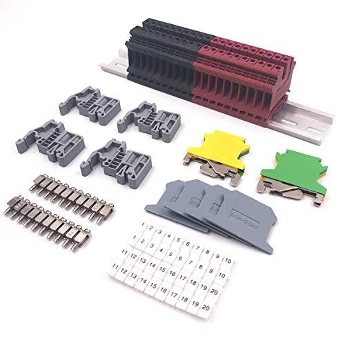 Erayco DIN Rail Terminal Blocks Kit, 20pcs UK-2.5N 12 AWG Terminal Blocks, 2pcs Ground Blocks, 2pcs Fixed Bridge Jumpers, 4pcs End Brackets, 4pcs End Covers, 4pcs Marker Strip, 1pcs 8 Aluminum Rail