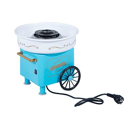 HOMCOM Máquina de Algodón de Azúcar Eléctrica Profesional Estilo Retro Regalo Infantil para Fiestas Cumpleaños Acero Inox. Aluminio 450W-550W Cotton Candy Machine 30x30x28cm