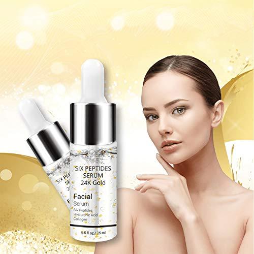 KGIDK Line Rewind 24K Gold Serum, Oil Control Reafirmante Suero para El Cuidado De La Piel De Los Poros, Antienvejecimiento Ampolla De Colágeno Lifting Face Cream Aprieta (2 PCS)