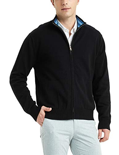 Kallspin Men's Cotton Blend Full Zip Cardigan Sweaters Relaxed Fit Outwear with Pockets Black Large