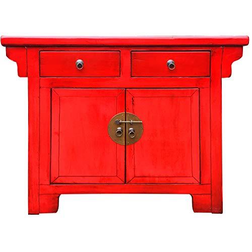 Chinesischer Hochzeitsschrank Schrank Kommode Tuan Rot 114cm hoch | China Vintage kleines Sideboard schmal | Asia Konsole aus Holz massiv für den Flur Schlafzimmer Wohnzimmer oder Bad
