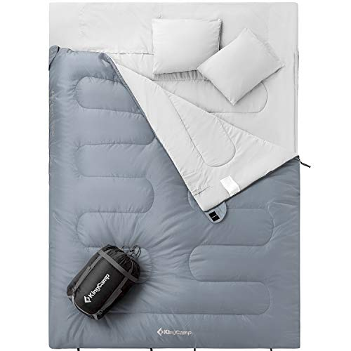 KingCamp Queen Size 3-Season Sleeping Bag 26 F/-3C with 2 Pillows and Compression Bag (Grey)