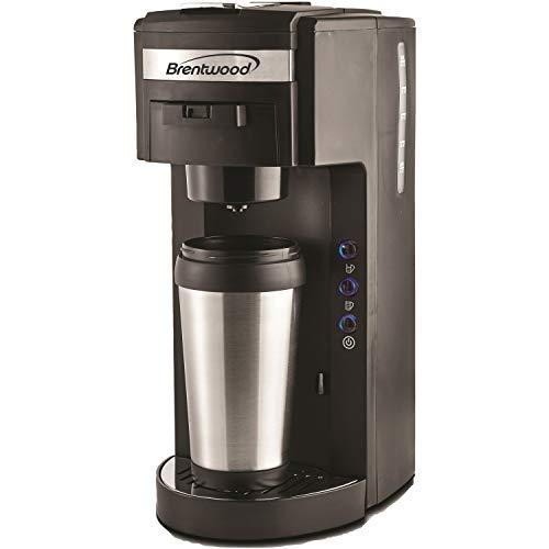 Brentwood Coffee Maker with Travel Mug, K-Cup Single Serve, Black