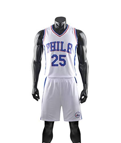 Traje De Uniforme De Baloncesto Para Niños, Philadelphia 76Ers # 25 Ben Simmons NBA Basketball Jersey Traje De Verano Chaqueta + Shorts Camiseta Suelta Y Transpirable,Blanco,2XL(Adult)170~175CM