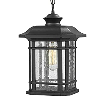 Emliviar Modern Exterior Pendant Light Lantern 14  Outdoor Hanging Light in Black Finish with Seeded Glass A2202110D1