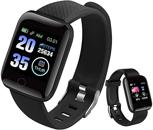 Smart Watch, Popglory Smartwatch with Blood Pressure, Blood Oxygen Monitor, Fitness Tracker with Heart Rate Monitor, Full Touch Fitness Watch Compatible with Android & iOS for Men Women