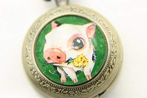 Jolie image de cochon, montre de poche, collier cochon en bronze, bijoux d'art photo, pendentif tendance.