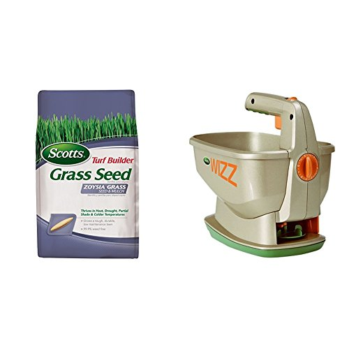 Scotts Turf Builder Zoysia Grass Seed & Mulch and Wizz Spreader