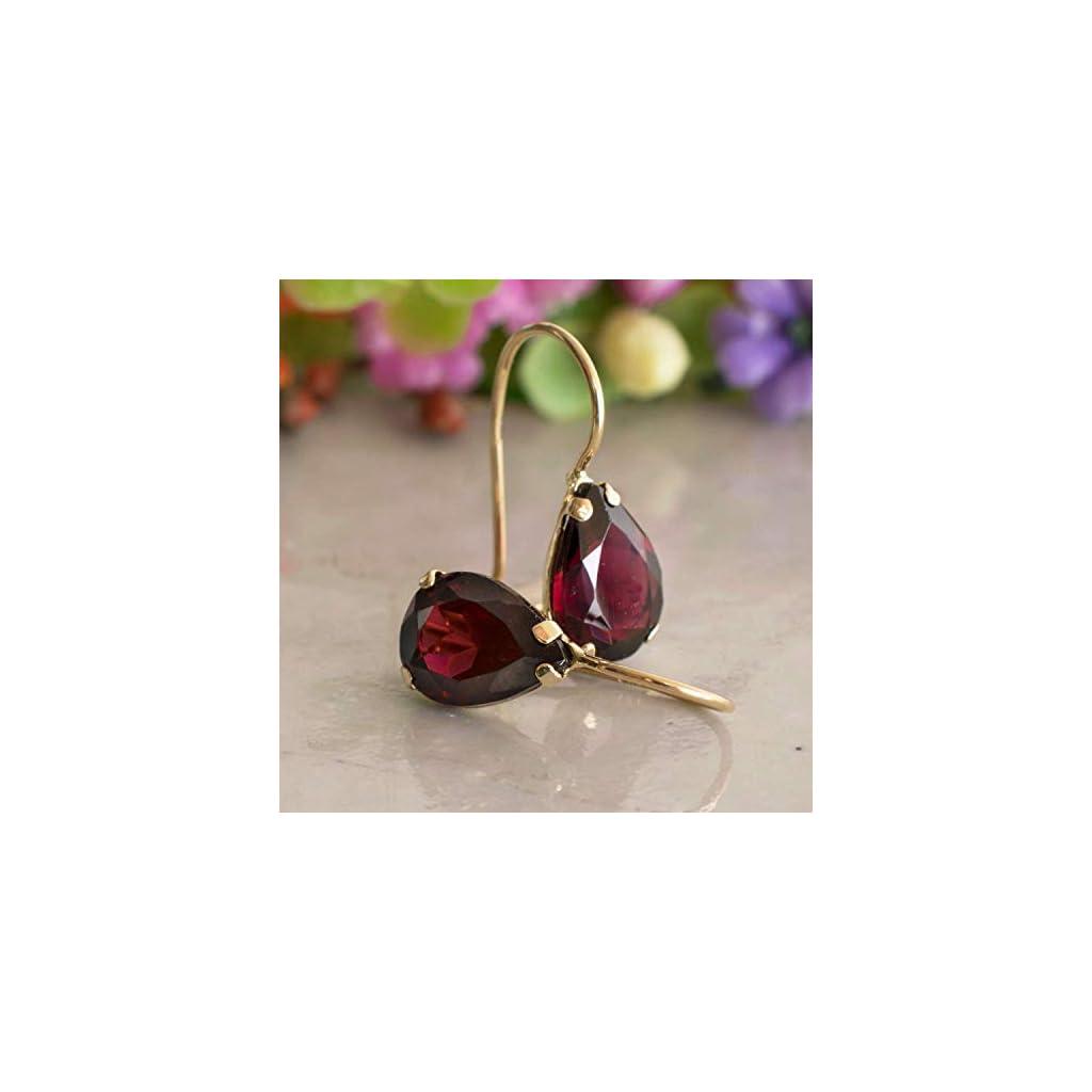 Dainty, Minimalist 14K Gold Red Garnet Earrings