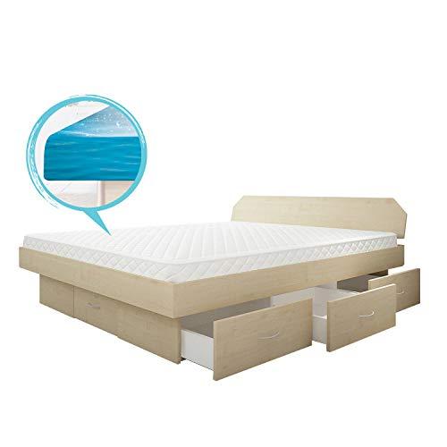 SONDERAKTION bellvita silverline Wasserbett mit Soft-Close Schubladensockel & Bettumrandung inkl. Lieferung & Aufbau durch Fachpersonal, 180cm x 220cm (ahorn)