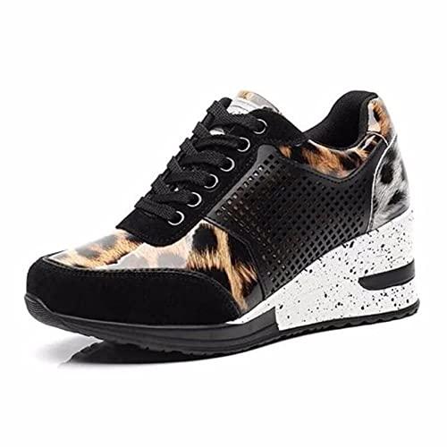 LIZONGFQ Zapatillas de deporte con cordones con cuña para mujer, zapatos vulcanizados, zapatos casuales de plataforma, zapatillas de deporte para mujer, cómodas, B,35