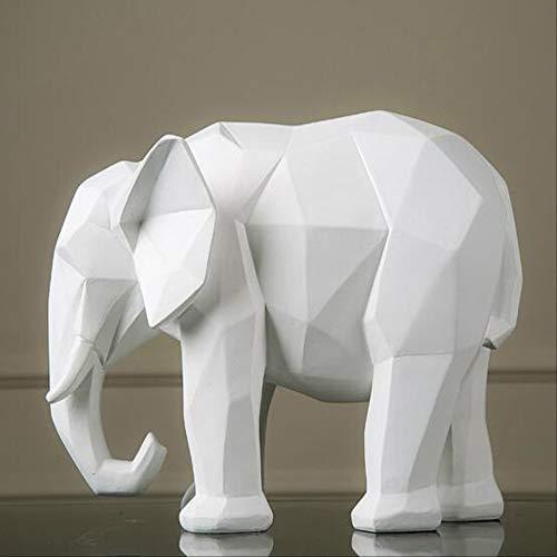 FYGEX Estatua Geometría Origami Elefante Blanco Estatuilla Adornos Resina Escultura Animal Abstracta Artesanía Creativa Decoración para el hogar Estatua