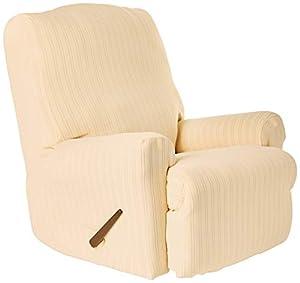SureFit Stretch Pinstripe 1-Piece - Recliner Slipcover - Cream