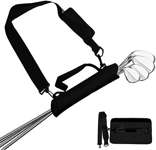 Golfbag Mini Carrybag Tragebag Leichte für Herren Damen Kinder Golfschläger-Umhängetasche Travelite (Schwarz in 2 Stücke)