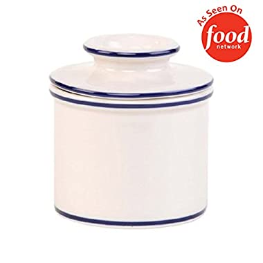 The Original Butter Bell Crock by L. Tremain, Specialty Crocks, Le Bistro - White with Blue Banding