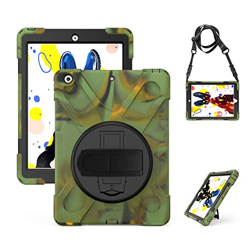 New iPad 10.2 Case 2019, ZERMU Heavy Duty Three Layer Shockproof Rugged Hard PC+Silicone Hybrid Impact Resistant Case with Built-in Stand+Hand Strap+Shoulder Strap for iPad 10.2 inch 7th Generation