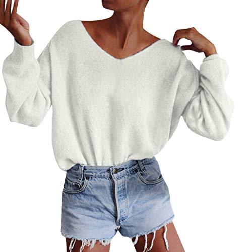 Ncenglings Damen Tops Herbst Winter Bekleidung Mode Bequem Wool Blouse Sexy Einfarbig strickshirts Freizeit Langarm Sweatshirt Rundhals Sweater Party Oberteile Basic Persönlichkeit Slim Fit Pullover